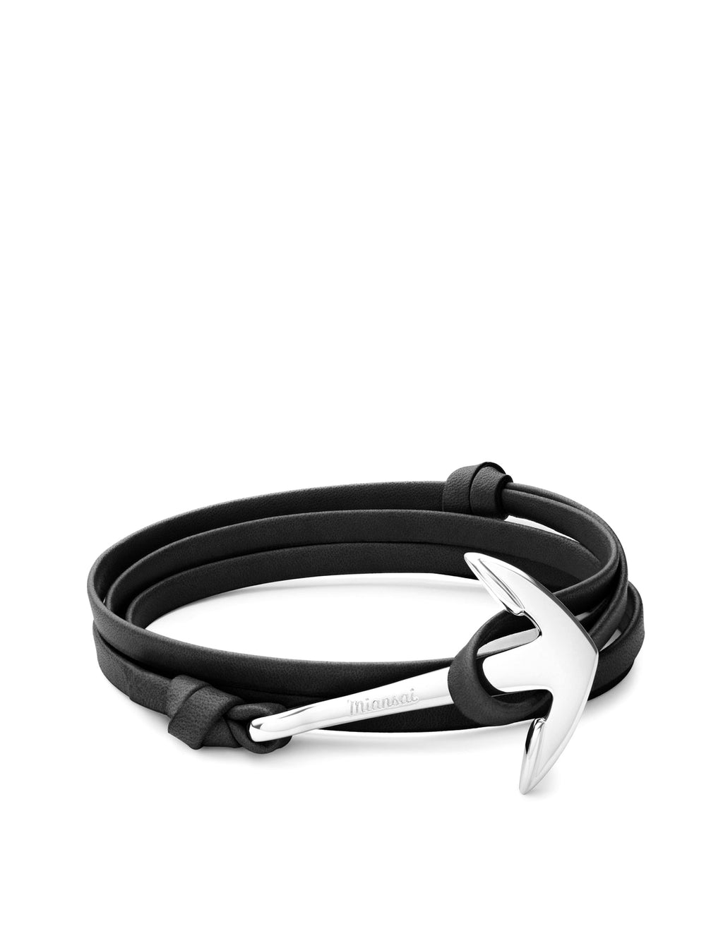 Miansai - Anchor On Leather Bracelet Polished Silver / Black