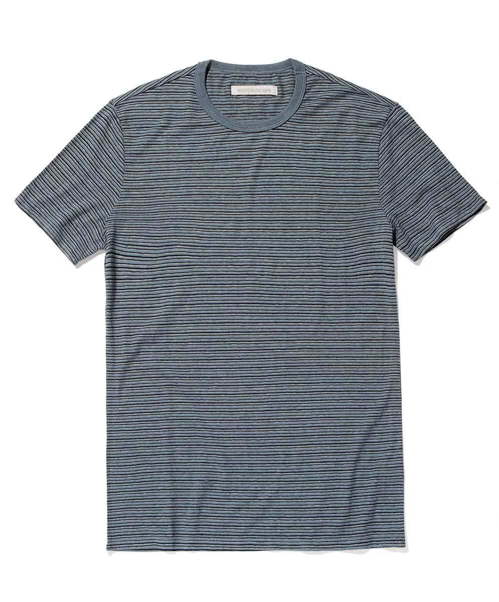OUTERKNOWN - Hemp Stripe Pocket Tee Blue