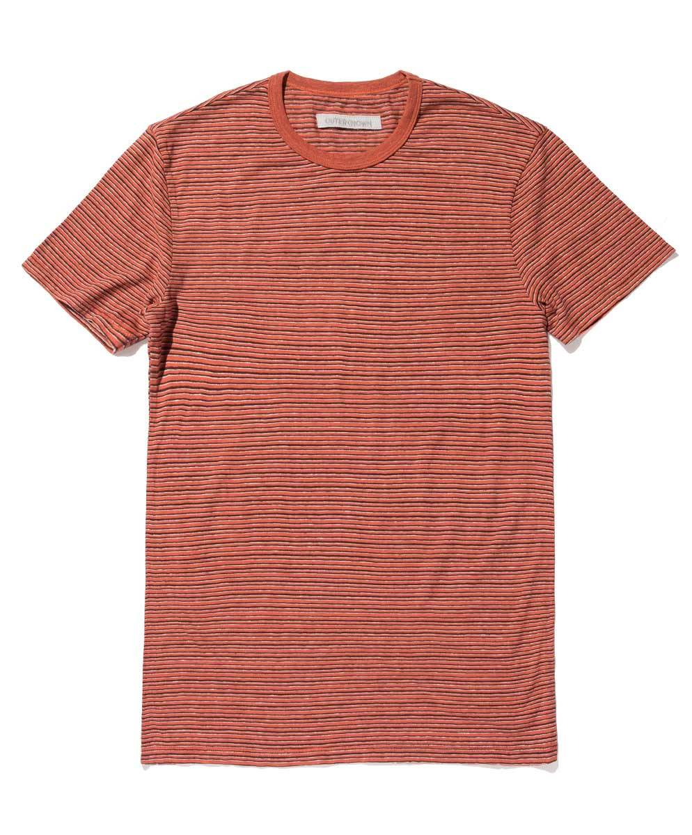 OUTERKNOWN - Hemp Stripe Pocket Tee Red