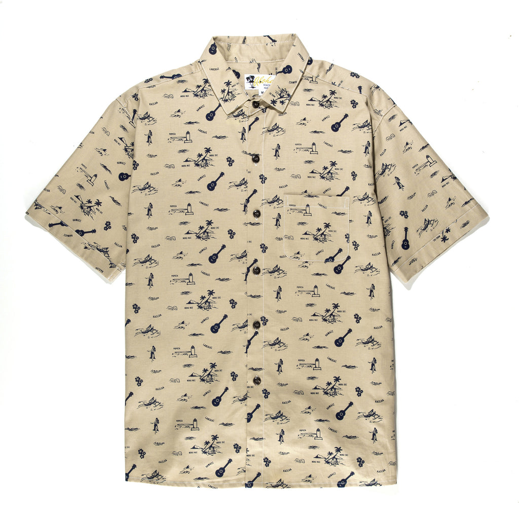Aloha Beach Club - Lanikai Tan Short Sleeve Aloha Shirt - Aloha Beach Club