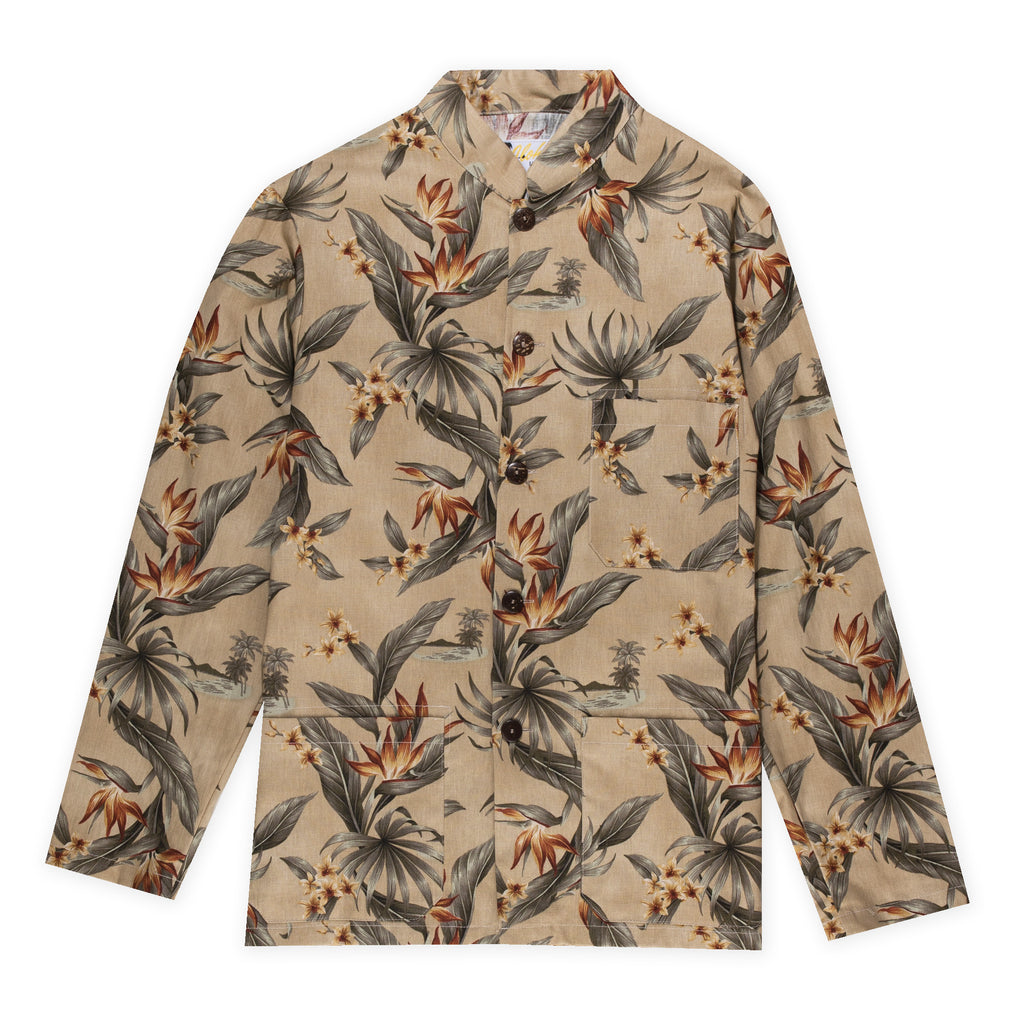 Aloha Beach Club - Paki Floral Tan Mandarin Shirt - Aloha Beach Club