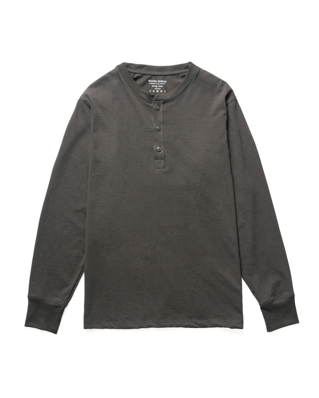 Copy of RICHER POORER - Long Sleeve Henley Charcoal