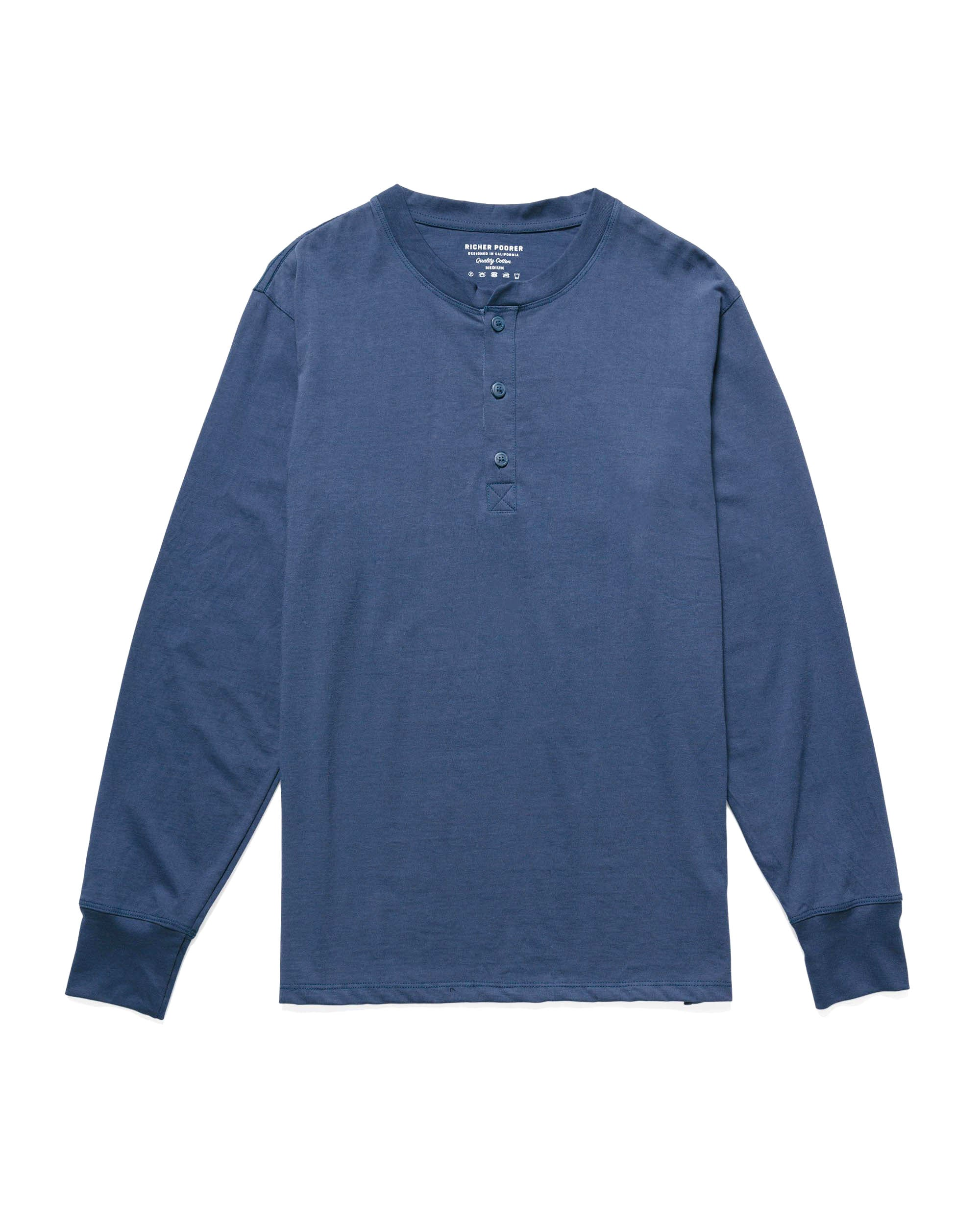 RICHER POORER - Long Sleeve Henley Navy