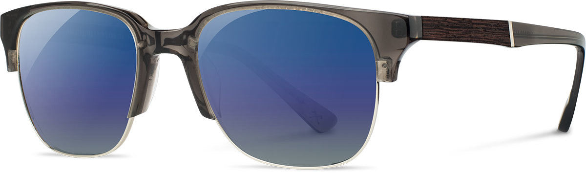 Shwood - Newport 52mm: Charcoal // Elm Burl - Blue Flash Polarized