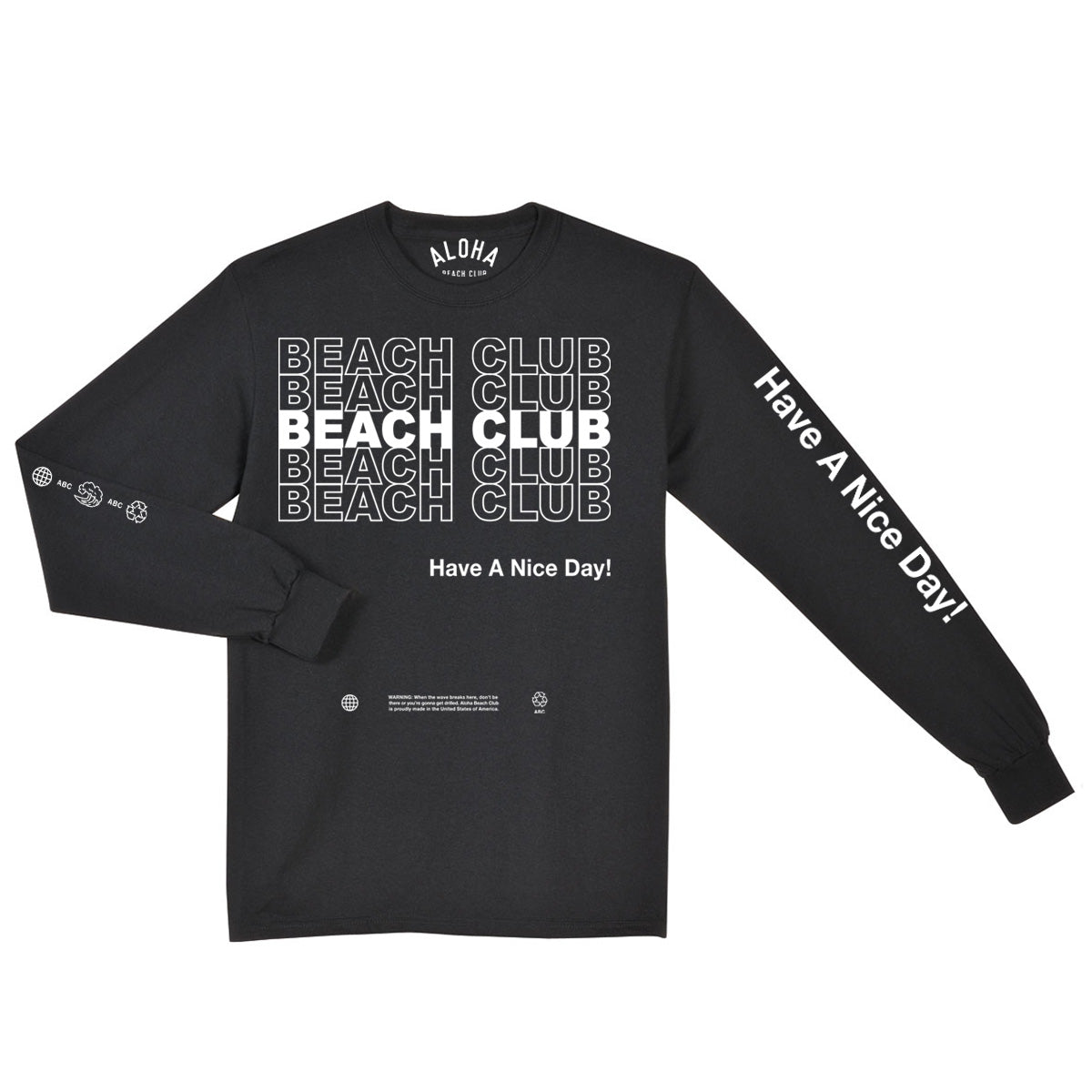 Aloha Beach Club - Thank You Long Sleeve Shirt Black - Aloha Beach Club