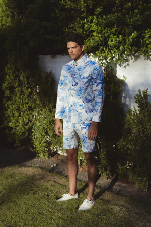Aloha Beach Club - Paki Floral Sea Mandarin Shirt - Aloha Beach Club