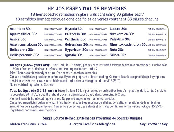 Helios Essential 18 Remedy Kit With Free Remedy Booklet