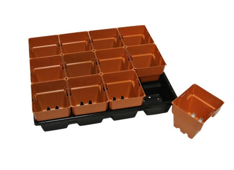 100mm Plastic Squat Punnet Pots with Tray-Clay Coloured Pot