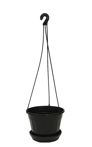 140mm Hanging Pots with Saucers (Black)