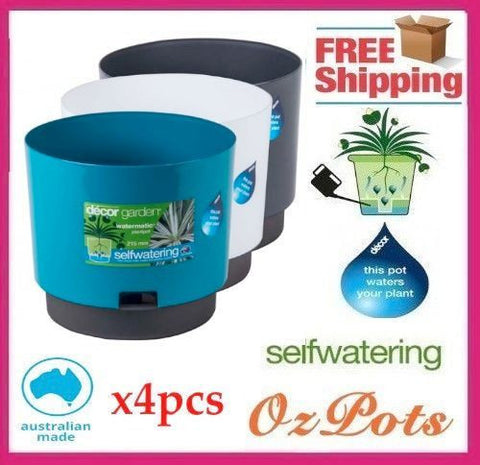 215mm Self Watering Plant Pots x 4pcs