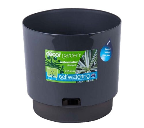215mm Watermatic Self-watering Plant Pot x 100pcs -  Pewter Colour