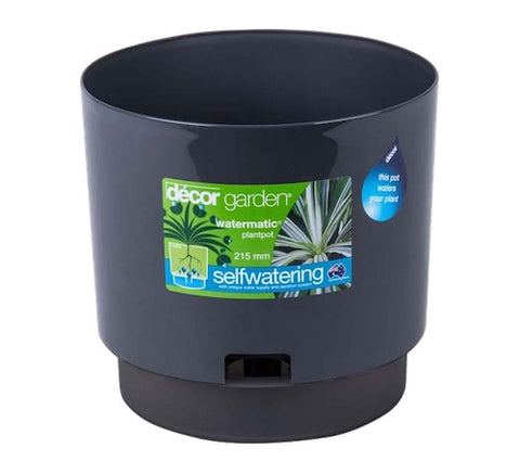 215mm Watermatic Self-watering Plant Pot x 4pcs -  Pewter Colour