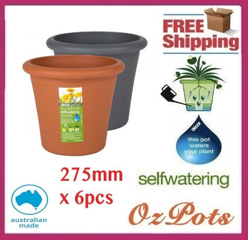 275mm Self Watering Plant Pots x 6pcs - Ozpots