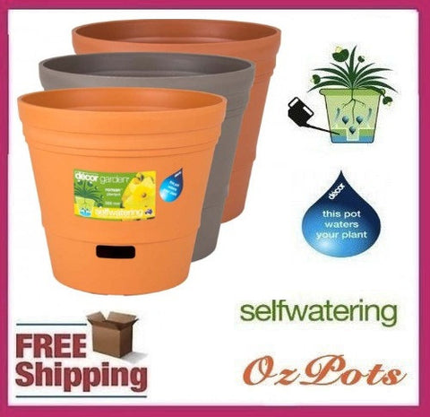 300mm Self Watering Plastic Garden Pots x 2pcs