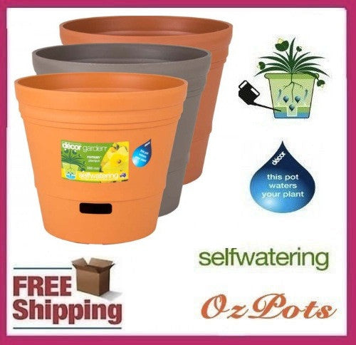 300mm Self Watering Plastic Garden Pots x 6pcs - Ozpots