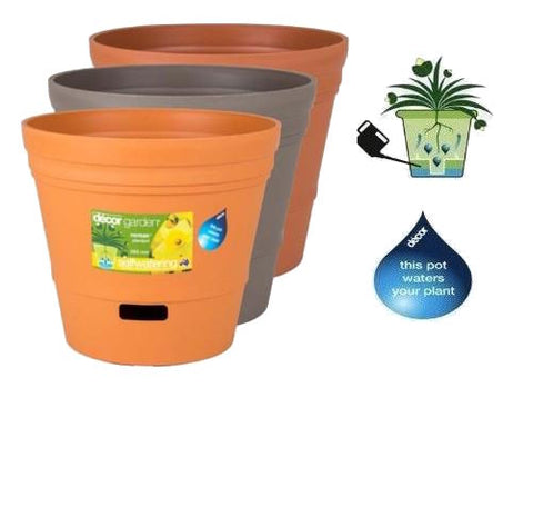 300mm Self Watering Plastic Garden Pots x 6pcs