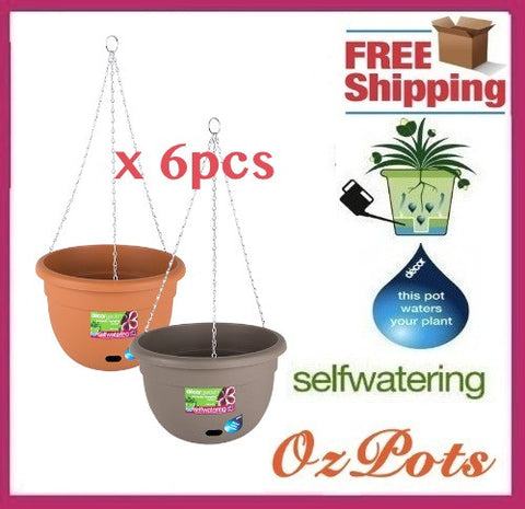 340mm Self Watering Hanging Plant Pots x 6pcs