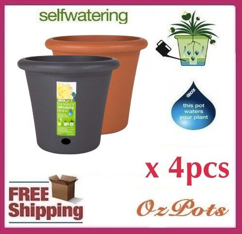400mm Self Watering Plant Pots x 4pcs - AusPots Permaculture