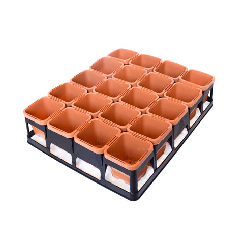 63mm Square Pots Clay x 20pcs + Tray