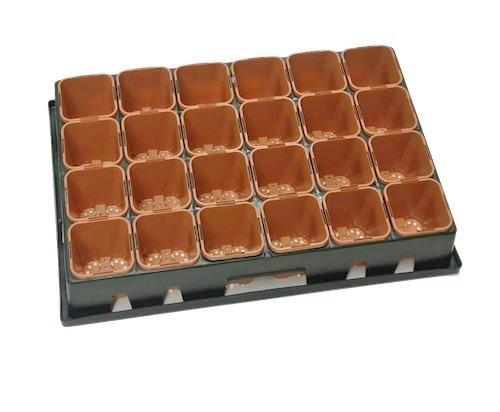 85mm Square Plastic Pots + 24 Cell Tray
