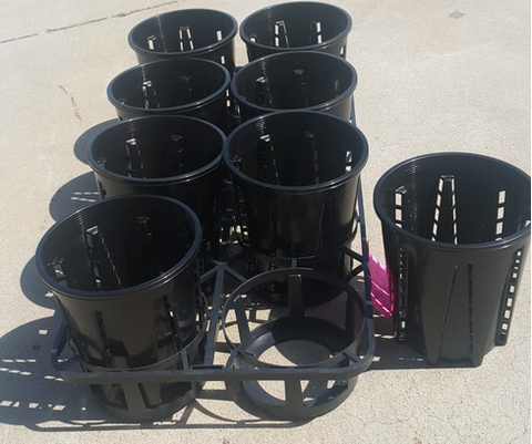 1.6L Anti-Spiral Garden Pots x 8pcs with tray