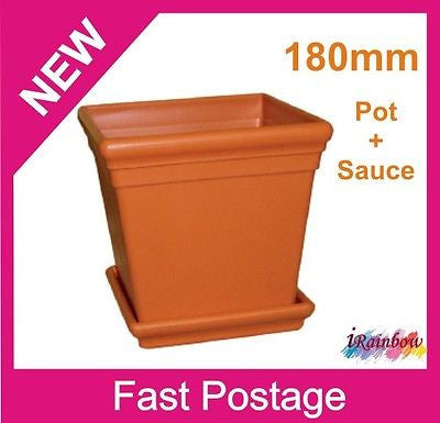 A Square Garden Pots - 180mm with Sauce - Indoor or Outdor Plants or Herbs - AusPots Permaculture