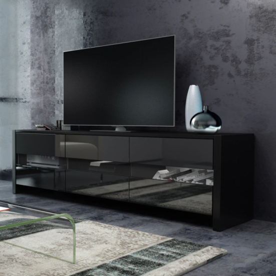 "Meuble Tv noir brillant ultra design ""Darkness"""