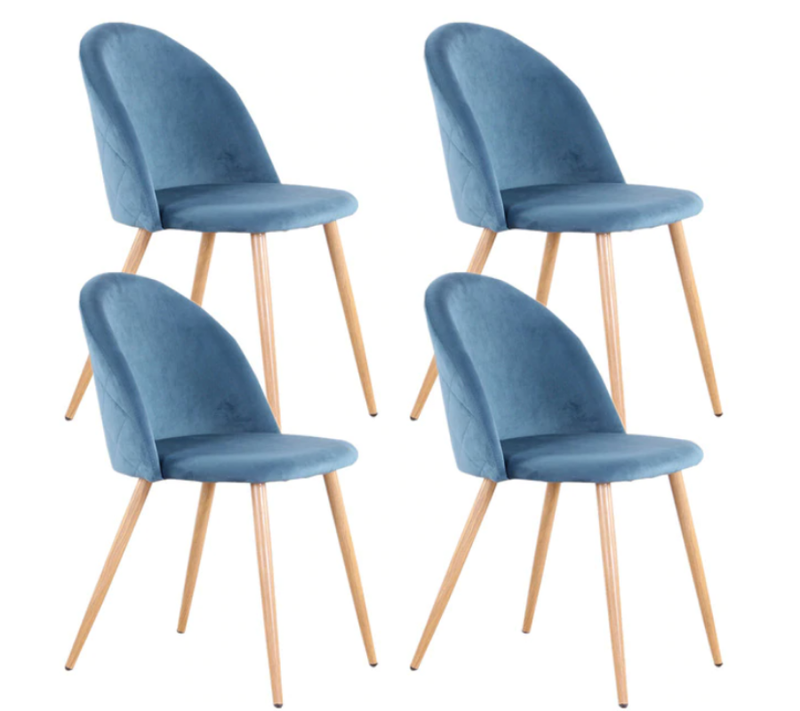 Lot 4 chaises velour bleues