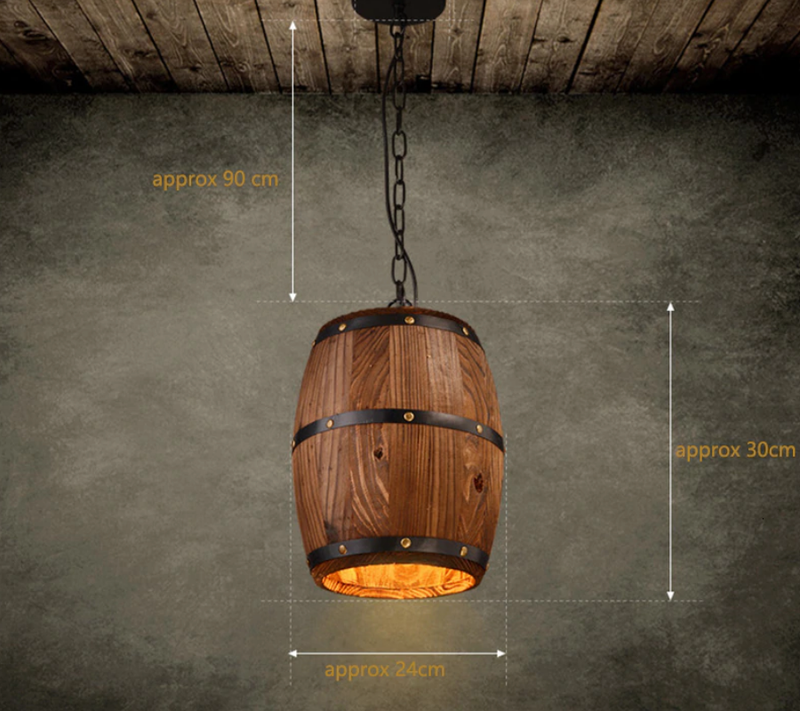 Lustre suspension tonneau de bois