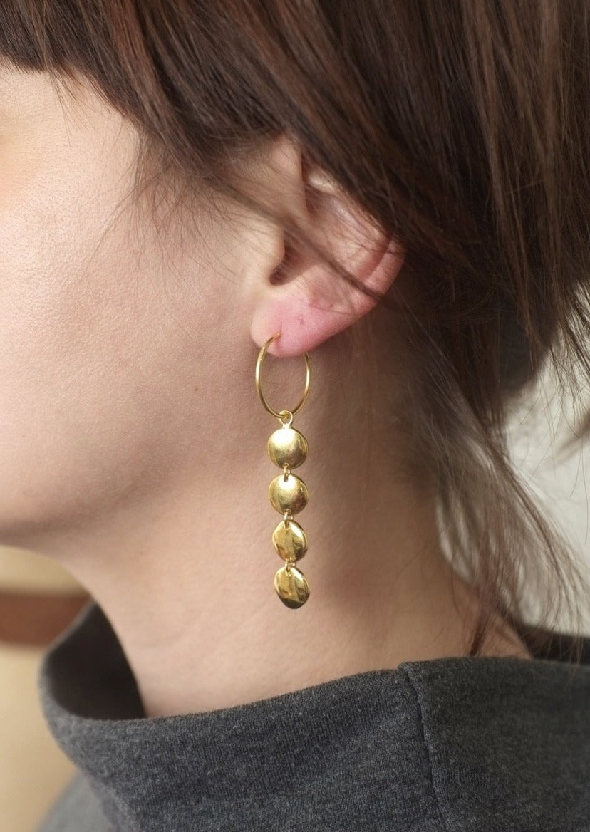 Disk Hoops in 14k Gold Vermeil