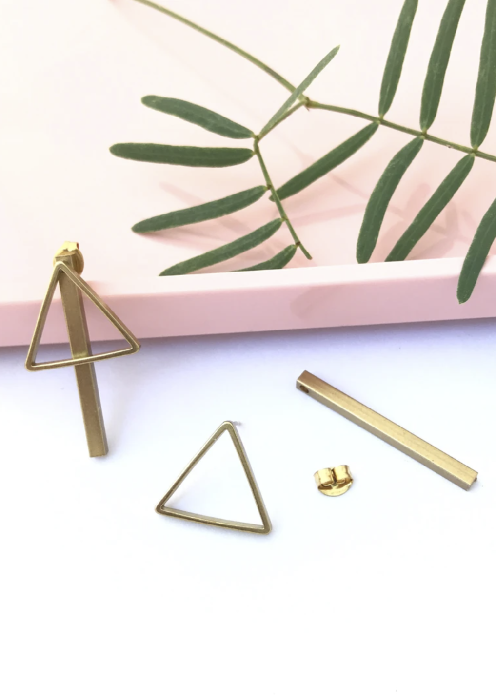 Brass with Gold-Fill Arrow Bar Jacket Earrings