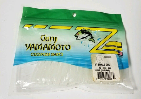 "4"" Yamamoto Grub Single Tail CLEAR W/ NO FLAKE"