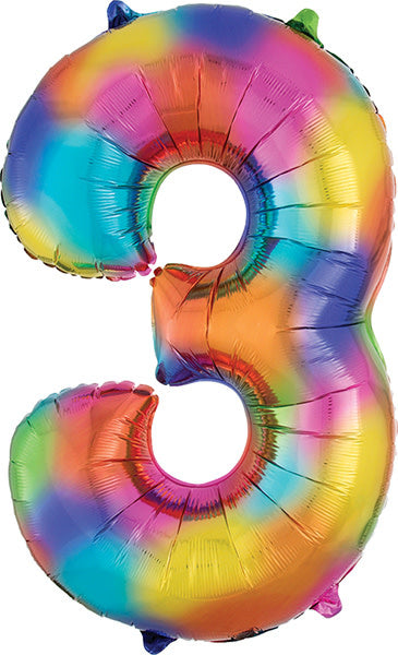 34 Inch -  Number 3 - Rainbow Splash Balloon (with 1.44 cf of helium) Anagram SuperShape L34 3853301