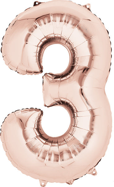 34 Inch -  Number 3 - Rose Gold  Balloon (with helium)