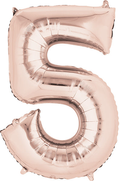 34 Inch -  Number 5 - Rose Gold  Balloon (with helium)