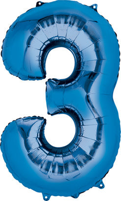 34 Inch -  Number 3 - Blue Balloon (with helium)