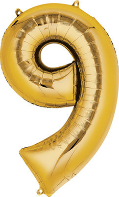 34 Inch -  Number 9 - Gold Balloon (with helium)