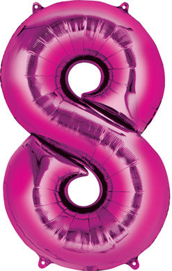34 Inch -  Number 8 - Pink Balloon (with helium)