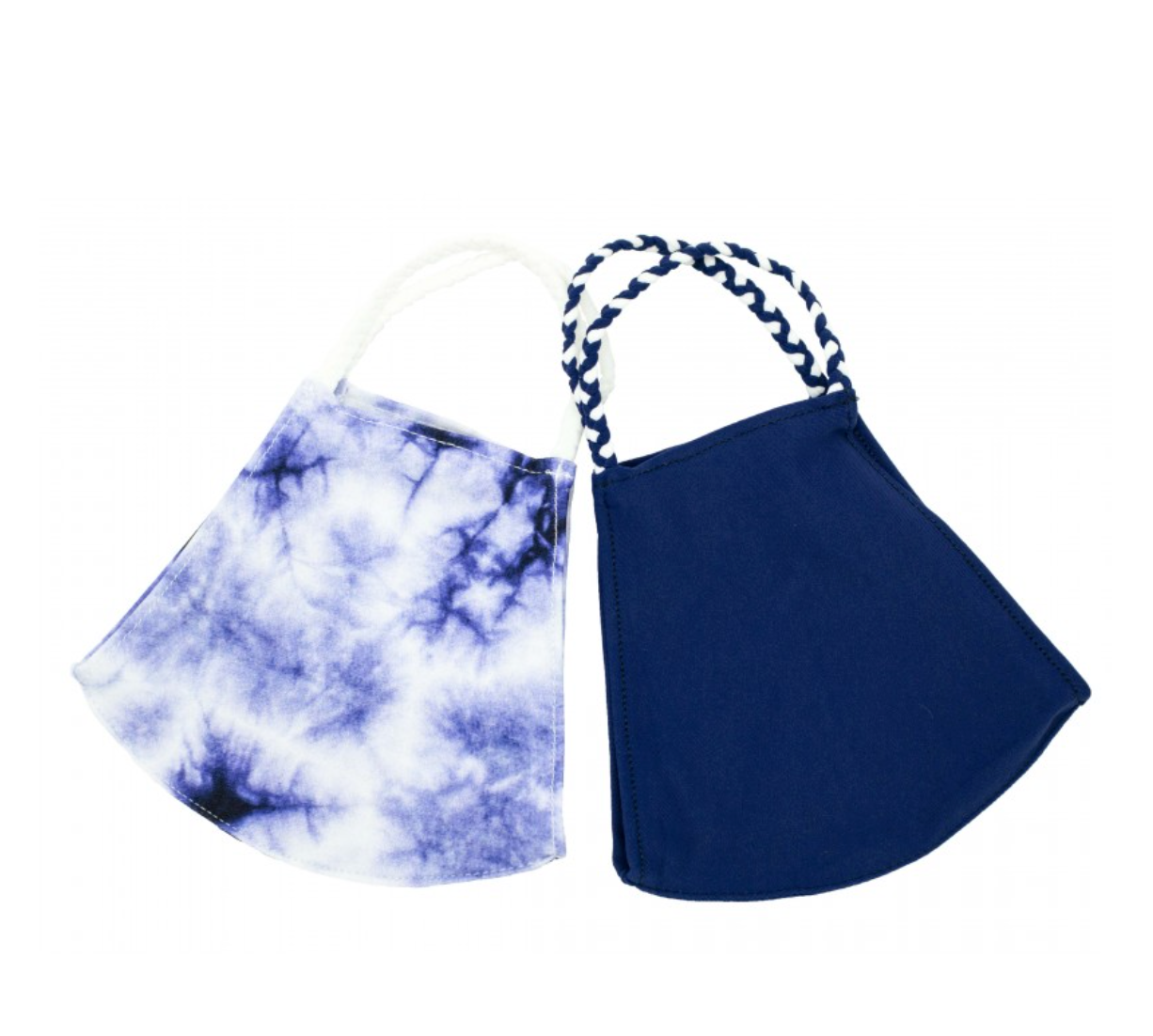 2 pack of Reusable Face masks - Indigo Tie Dye Print & Navy Solid (Ages 6-Adult)