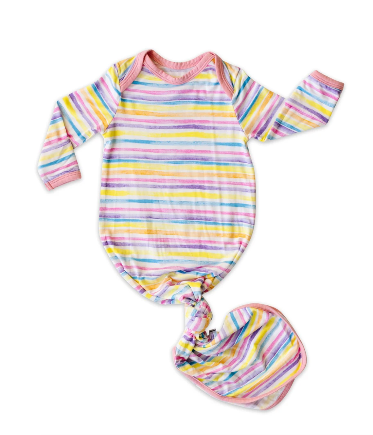 Sunrise Stripe - Bamboo Viscose Infant Knotted Gown