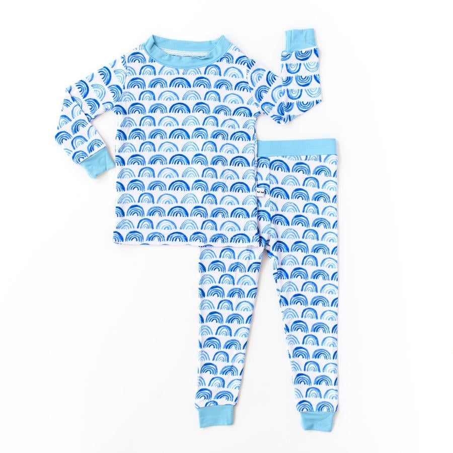 Blue Rainbows bamboo viscose two-piece pajama set