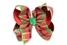 "Load image into Gallery viewer, 2.5"" Specialty Ribbon & 2.25"" Gros, Layered 6.5"" XXL Bow w/ Knot on LG. Alligator Clip  Red/ Red and Emeral Plaid/ Emerald Knot"
