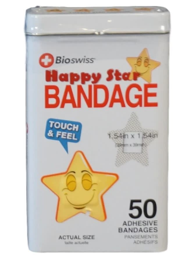 Happy Star-Shaped Bandaids - 50 Adhesive Bandages