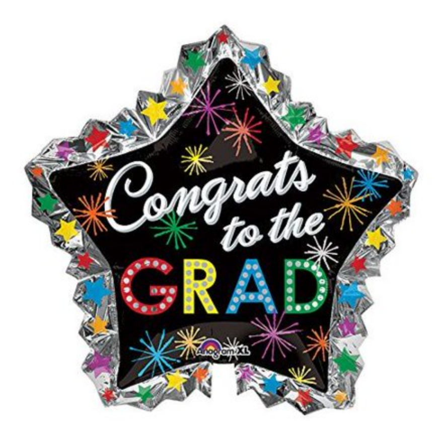 34 Inch - Graduation Balloon - Star Shaped Congrats to the Grad  (with helium) (Item No. 32414)