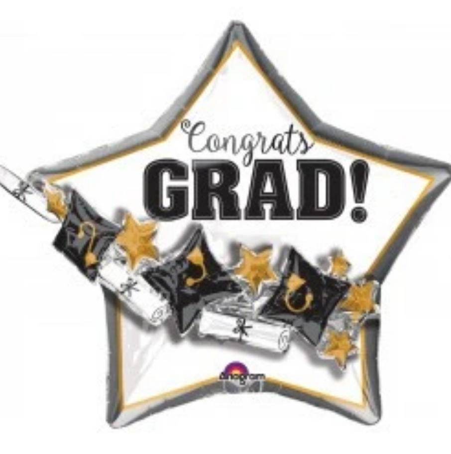 27 Inch - Foil Balloon - Hats and Scrolls Congrats Grad (with helium) (Item No. 34939)