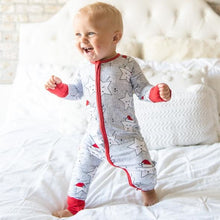 Load image into Gallery viewer, Sleepy Santa Stars - zippie convertible/romper