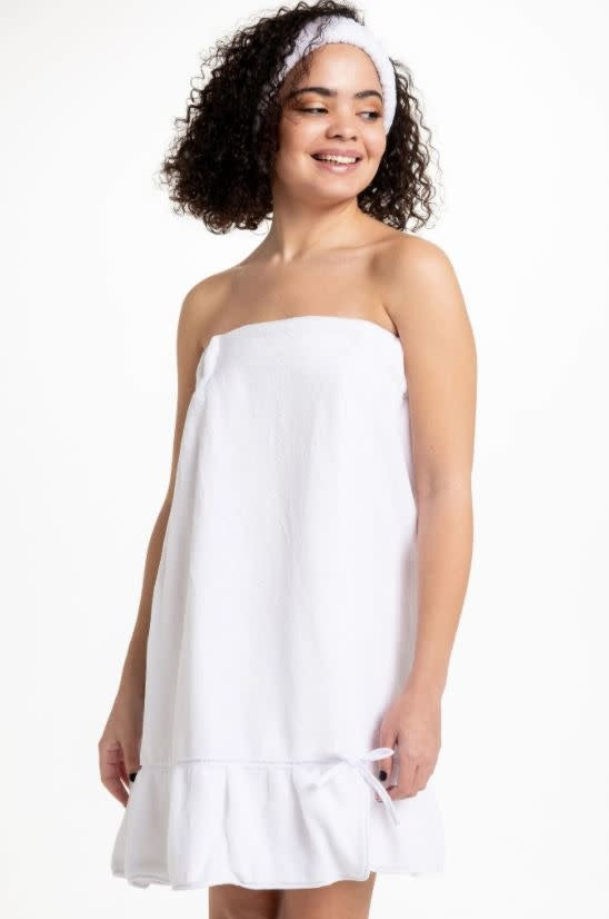 Spa Towel Wrap with Ruffle - White (one size fits all)