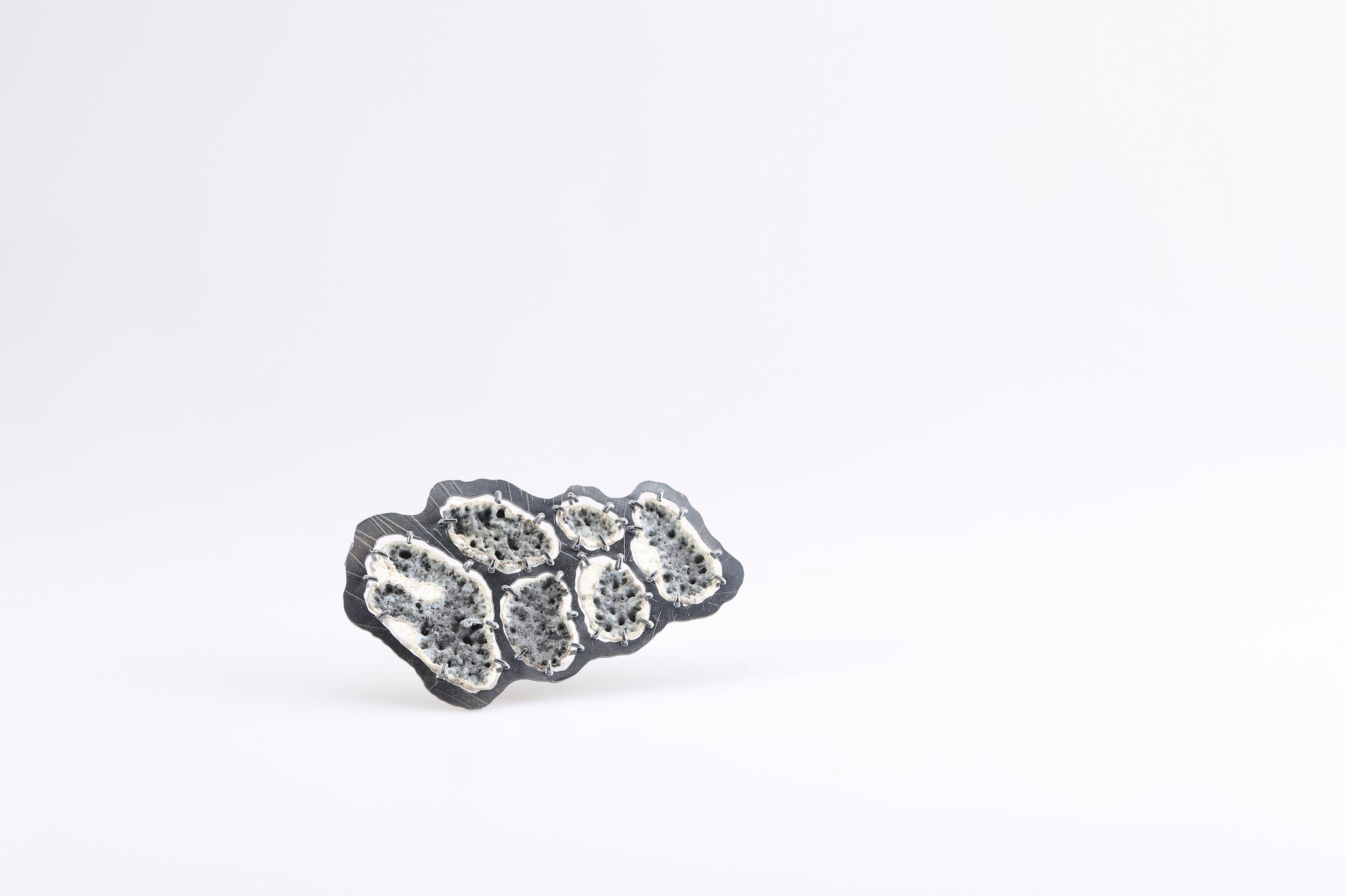Soohyun Chou Brooch: From Tools, 2020 925 silver, ceramic supporting bord.