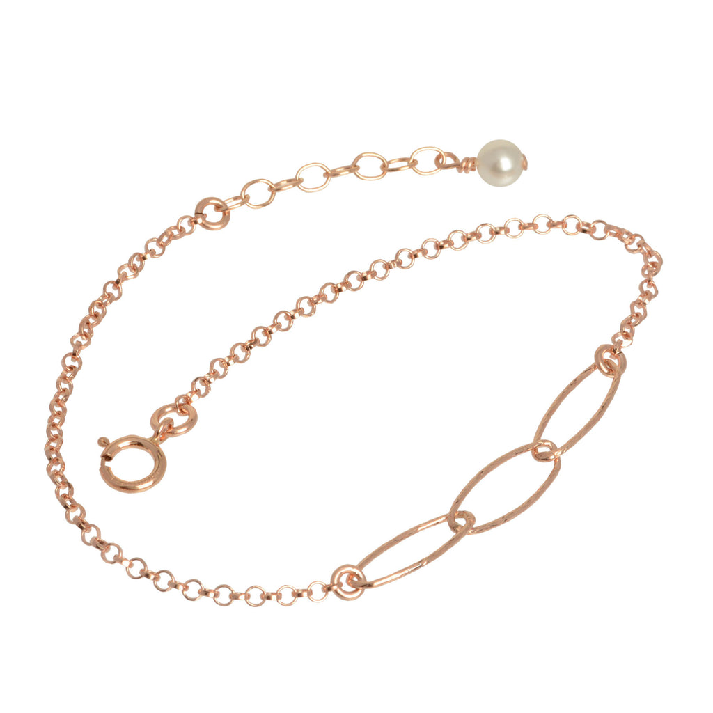 Rose Gold Triple Oval Chain Bracelet