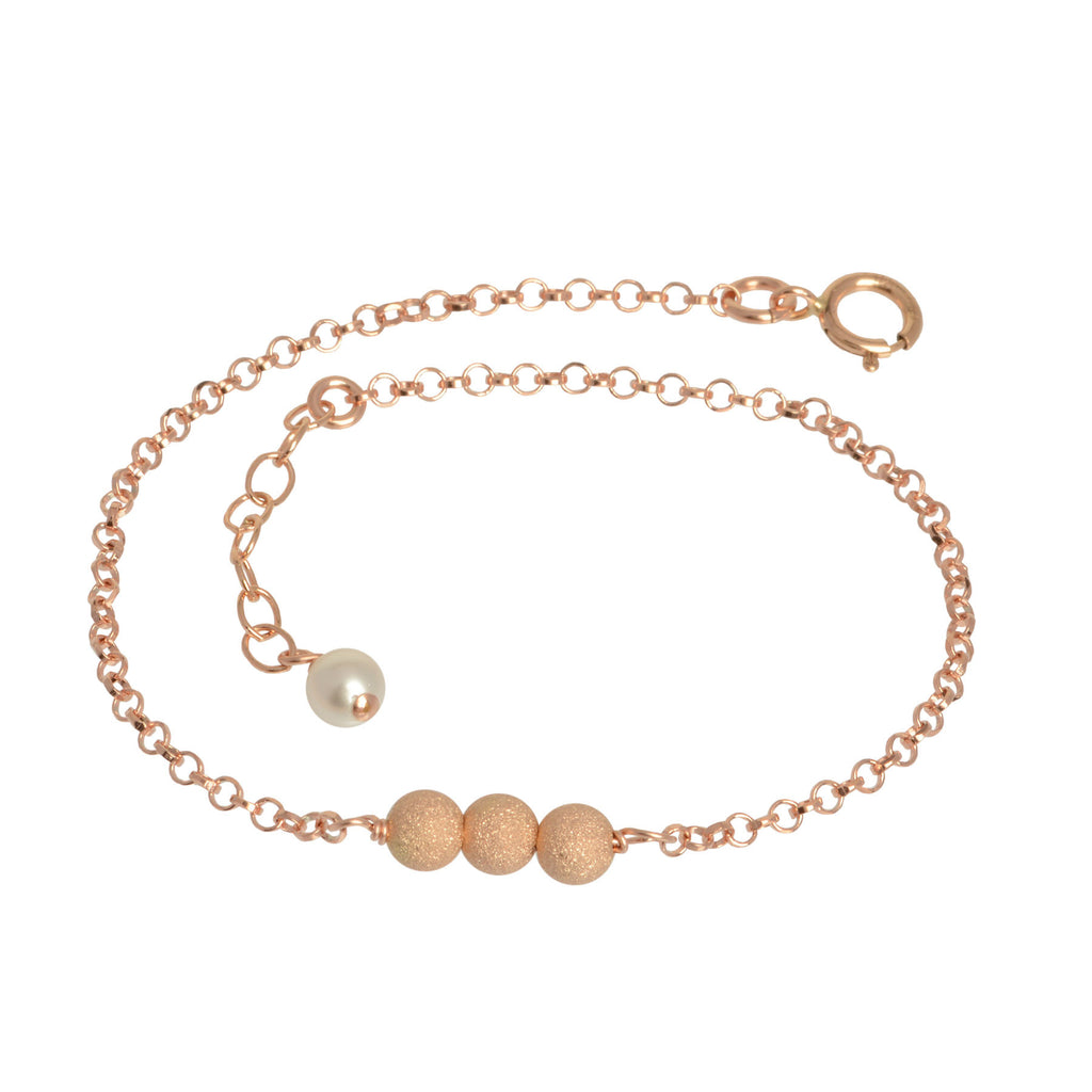 Rose Gold Triple Glitter Ball Bracelet